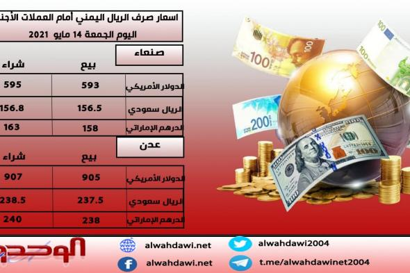 أسعار الصرف في صنعاء وعدن- مساء الجمعة 14-5-2021